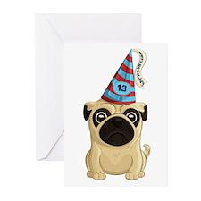 13th Birthday Pug Greeting Cards (pk Of 20)
