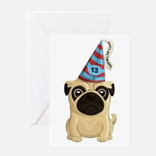 13th Birthday Pug Greeting Cards