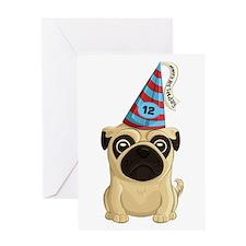 12th Birthday Pug Greeting Cards