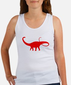 Apatosaurus Silhouette (Red) Tank Top