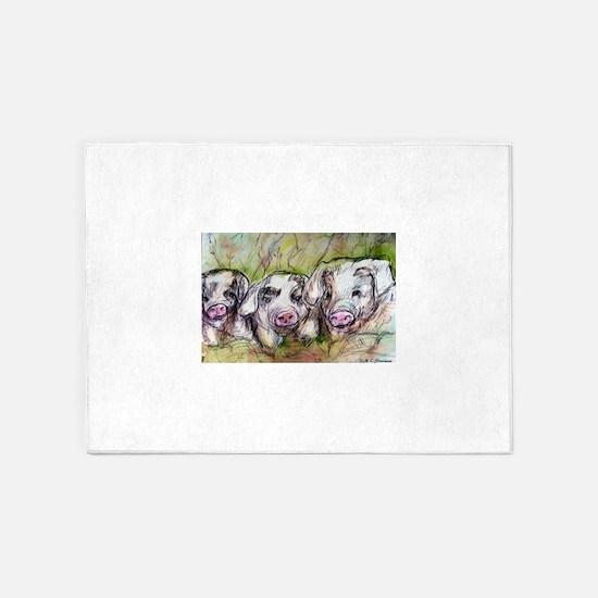 Piglets, Animal art! 5'x7'Area Rug