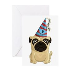 9th Birthday Pug Greeting Cards