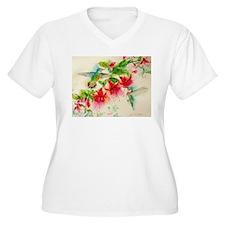 Hummingbirds in Fuschia Garden 2 Plus Size T-Shirt