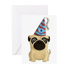 4th Birthday Pug Greeting Cards