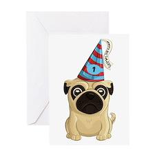 Happy 1st Birthday Pug Greeting Cards