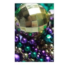 Mardi Gras Beads Gold Ball Postcards (Package of 8