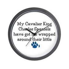 Wrapped Around Their Paws (Cavalier) Wall Clock
