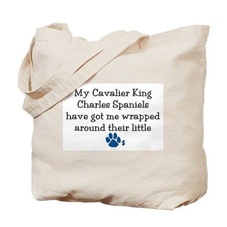 Wrapped Around Their Paws (Cavalier) Tote Bag