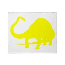 Diplodocus Silhouette (Yellow) Throw Blanket
