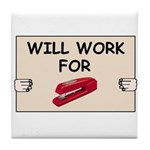 RED STAPLER HUMOR Tile Coaster