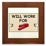 RED STAPLER HUMOR Framed Tile