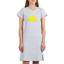 Stegosaurus Silhouette (Yellow) Women's Nightshirt