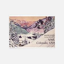 Vail, Colorado Vintage Travel Poster 5'x7'Area Rug