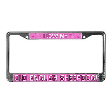 Pink Polka Dot OES License Plate Frame