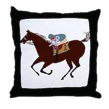 The Racehorse Throw Pillow