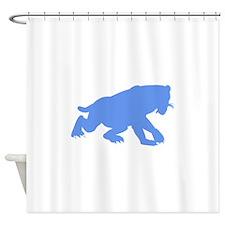 Smilodon Californicus Silhouette (Blue) Shower Cur