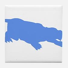 Machairodus Silhouette (Blue) Tile Coaster