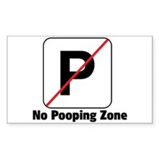 No Pooping Zone Rectangle Decal