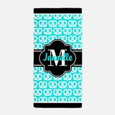 Aqua Black Pretzels Custom Monogram Beach Towel