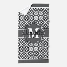 Gray Decorative Quatrefoil Custom Mono Beach Towel