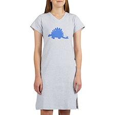 Stegosaurus Silhouette (Blue) Women's Nightshirt