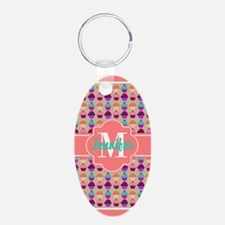 Coral Trim Personalized Cup Keychains