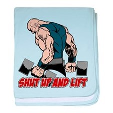Shut Up and Lift Weightlifter baby blanket