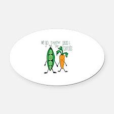 Peas & Carrots Oval Car Magnet