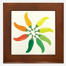 Colorful Peppers Framed Tile