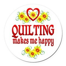Quilting Happiness Round Car Magnet