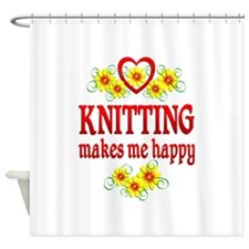 Knitting Happiness Shower Curtain