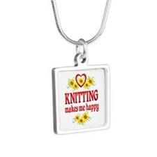 Knitting Happiness Silver Square Necklace
