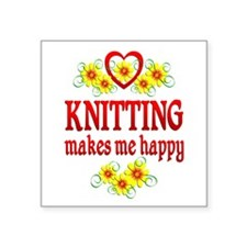 "Knitting Happiness Square Sticker 3"" x 3"""