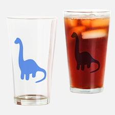 Brontosaurus Silhouette (Blue) Drinking Glass