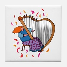 Funny Harp Player Tile Coaster