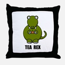Tea Rex Dinosaur Throw Pillow