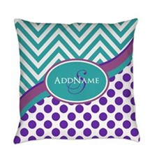 Teal Violet Chevron Dots Personalized Everyday Pil