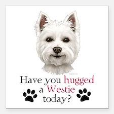 "Westie Hug Square Car Magnet 3"" x 3"""