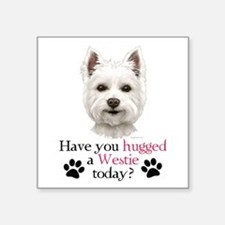 "Westie Hug Square Sticker 3"" x 3"""