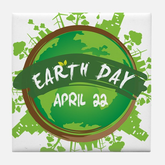 Earth Day April 22 Tile Coaster