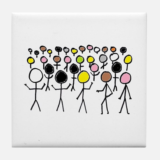 Equality Stick Figures Tile Coaster