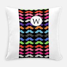 Custom Monogram Mustache Pattern Everyday Pillow