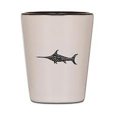 Distressed Swordfish Silhouette Shot Glass