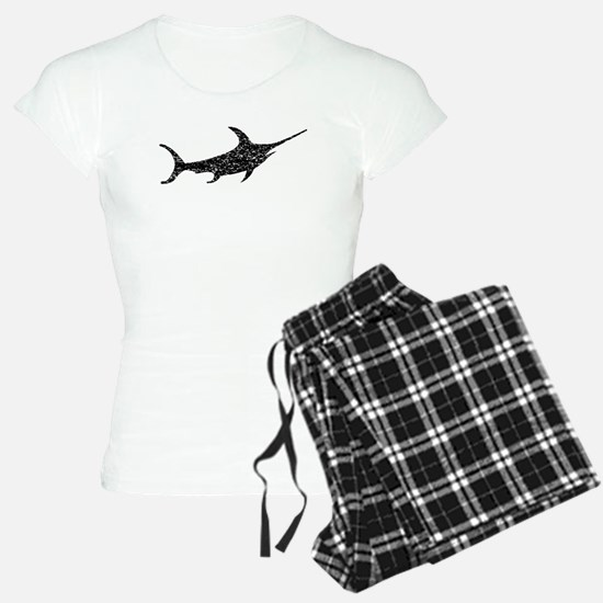 Distressed Swordfish Silhouette Pajamas