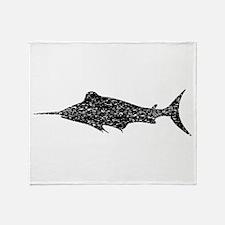 Distressed Swordfish Silhouette Throw Blanket