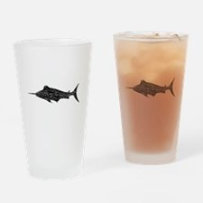 Distressed Swordfish Silhouette Drinking Glass