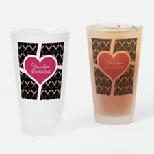 Personalized Pink Heart Baseball Ba Drinking Glass