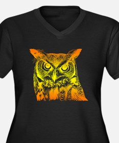 owl face Women's Plus Size V-Neck Dark T-Shirt
