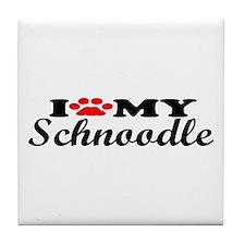 Schnoodle - I Love My Tile Coaster
