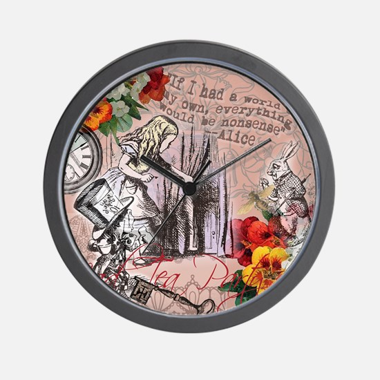 Alice in Wonderland Vintage Adventures Wall Clock